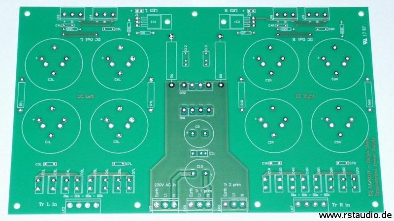 Pass XOno Clone Rev. 2a Power Supply Board (Dimension: 221mm × 135mm)