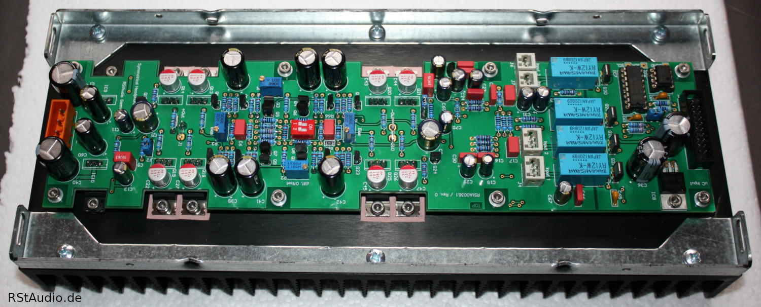 DHA Amplifier Board with Power Transistors mounted on the Heatsink